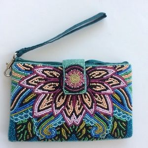 Colorful Lotus Beaded Wristlet / crossbody